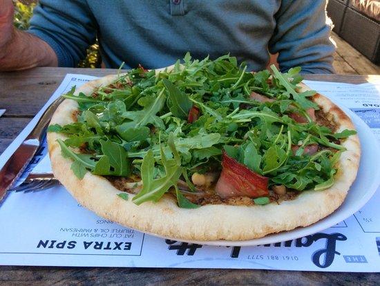 The Laundrette Chorlton: Mushroom, pancetta and rocket pizza