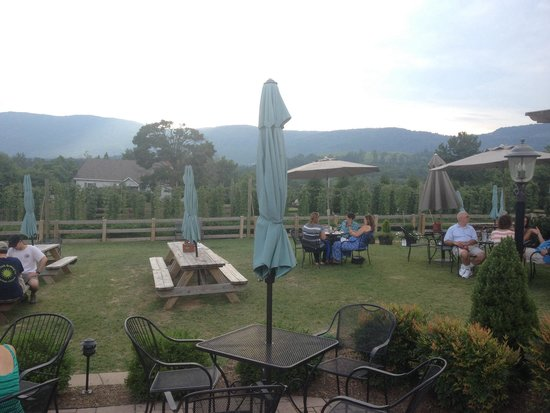 Blue Mountain Brewery : Part of the dining on the lawn.