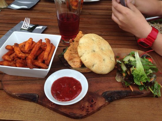 The George: Delicious chicken and the bread roll was so tasty! As for the sweet potato fries-yum!