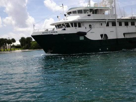 "Jupiter, FL: Large boat named ""Who Cares"", owned by one of the Island residents"