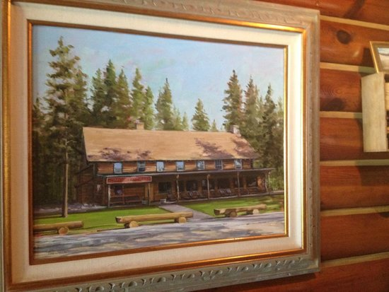Redfish Outlet Lake: Painting of lodge inside restaurant