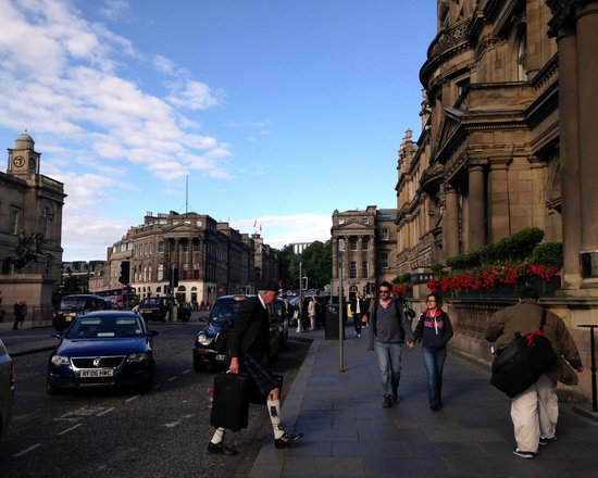 The Balmoral Hotel: exterior with the Scotsman!