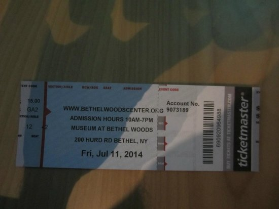 Bethel Woods Center for the Arts: Ticket in