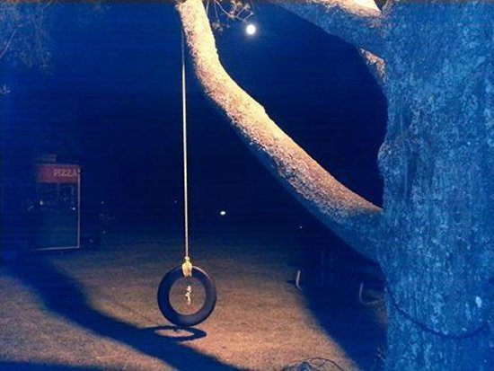 Mount Jefferson View : Tire swing and the Super Moon.