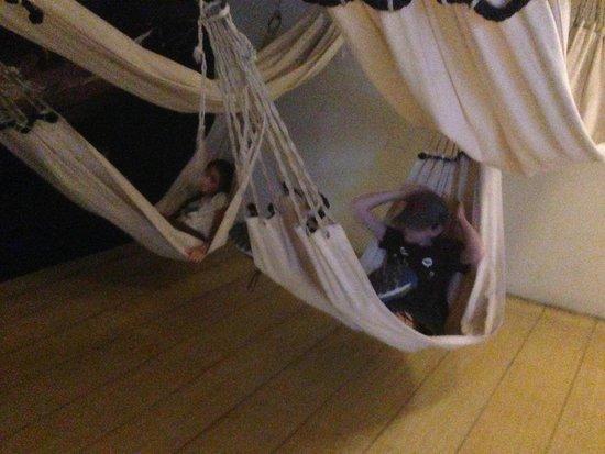 USS Constitution Museum : Kids testing the sleeping hammocks