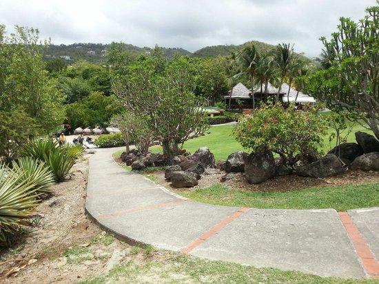 Pierre & Vacances Village Club Sainte Luce : Le chemin piétonnier qui serpente autour de l'hôtel et emmène à la plage