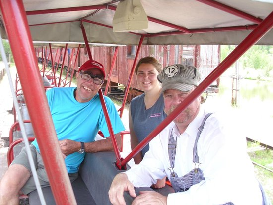 Alder Gulch Railway: my husband with the conductor and engineer