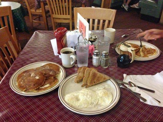 Log Cabin Pancake House: cornmeal pancakes and eggs