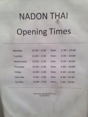 Nadon Thai: We went Monday, but it was CLOSED
