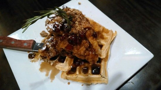 Brooklyn's Contemporary Comfort Food: Chicken and waffles, with pecans, dried cranberries and a balsamic maple syrup!
