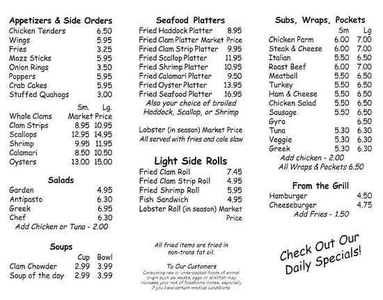 Jerry's Seafood & Dairy Freeze menu - BACK