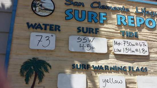 Casa Tropicana: Posted surf conditions