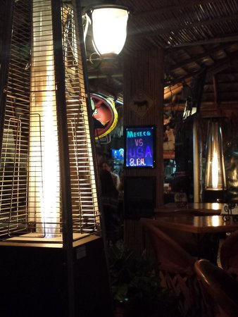 Cabo Cantina: heater towers for nighttime