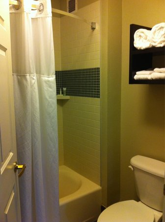 Staybridge Suites Vancouver - Portland Area: 7/10/14 - Full bathroom with bathtub and wide curtain bar with locking door.
