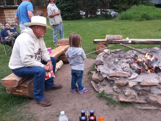 Grizzly Lodge: fire pit EVERY night! :)