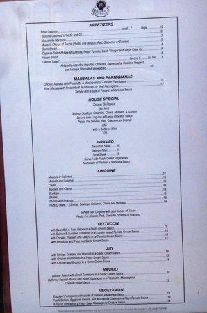 Giacomo's Restaurant: Giacomo's menu
