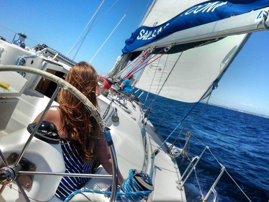Sail San Diego: Fun on the bow...like a log ride...oooweee