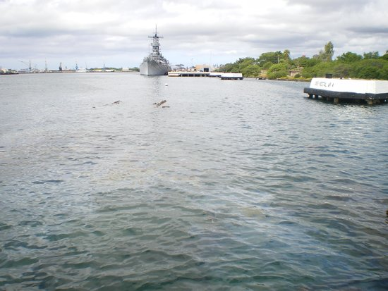 USS Arizona Memorial: Mighty Mo in the background