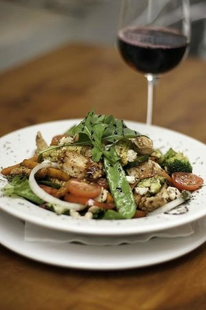 Basic Bistro: Cajun Chicken salad with Stirfry Veg, Cashew Nuts and Blue Cheese Crumbs on Crisp Lettuce
