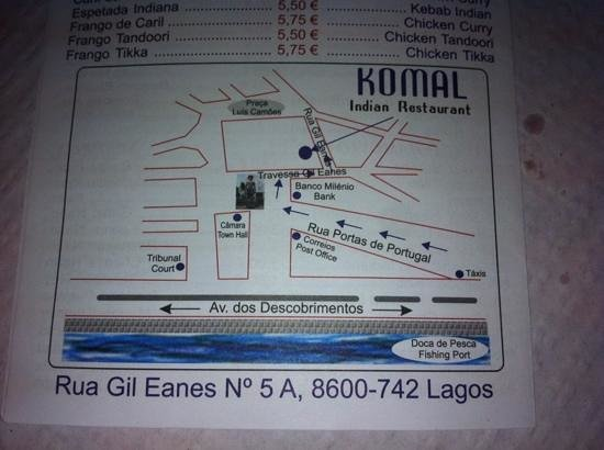 Komal Indian Restaurant: Clearer directions to restaurant