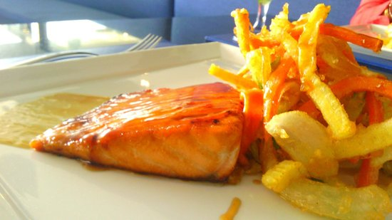 The Blue Mango Bar and Grill: Delicious - Japanese salmon with home made teryiaki sauce