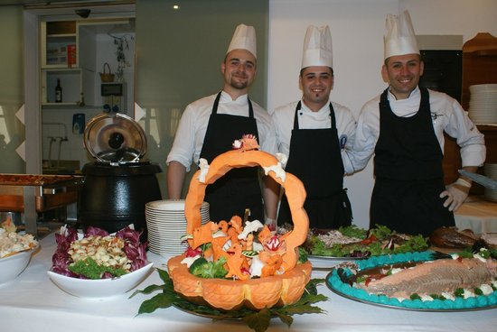 Hotel Delfino: One of the chefs' creations for the Mediterranean buffet