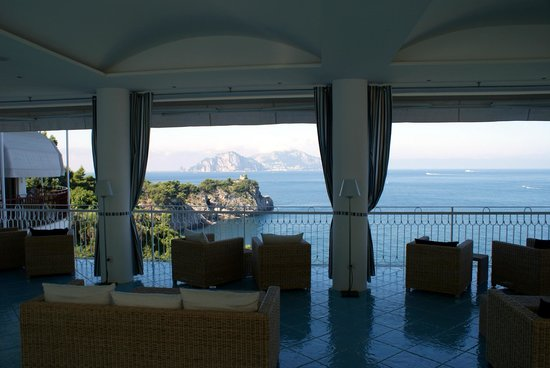 Hotel Delfino: View from the lounge across to Capri