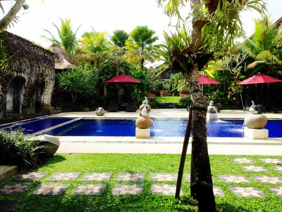 Bebek Tepi Sawah Villas & Spa : Public pool from the restaurant