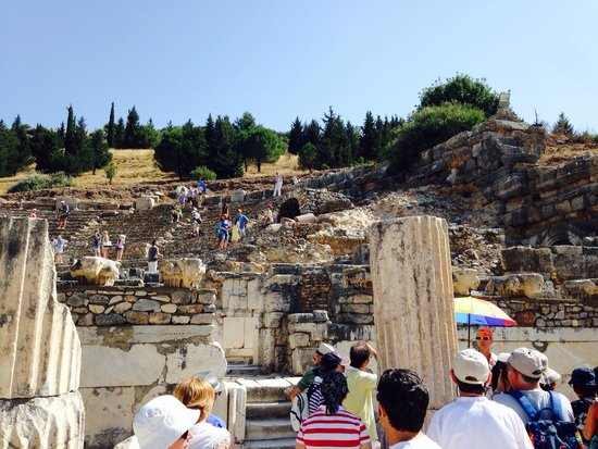 Ancient City of Ephesus: It's hard to see but this is an outdoor stadium the architecture is amazing this pic doesn't do