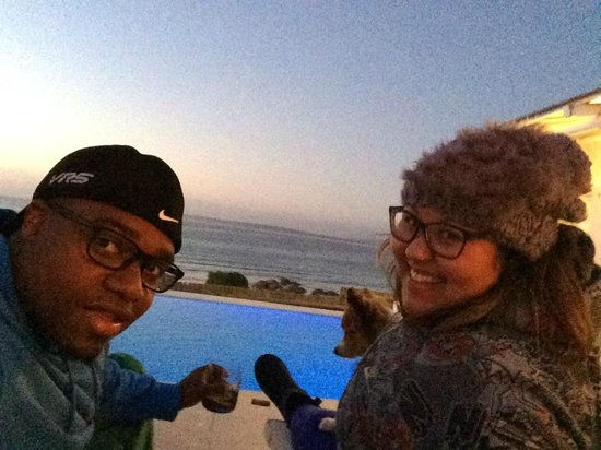 Paternoster Cottages : Enjoying a Paternoster Seafront Sunset from our Cottage and Pool