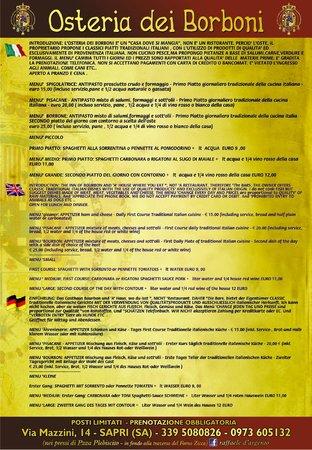 Osteria dei Borboni : menu in inglese e francese