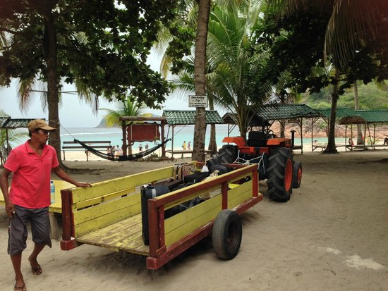 Redang Lagoon: tractor to carry your luggage