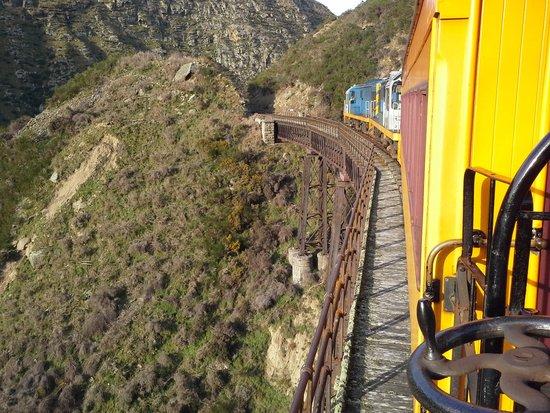 Taieri Gorge Railway: Going through the narrow cutting