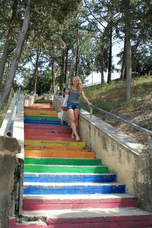 Port de Kyrenia : My sister on Kyrenia centre