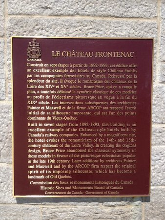Fairmont Le Chateau Frontenac : Info about history of hotel