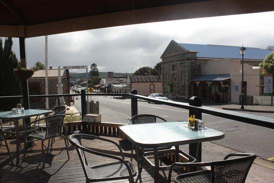 the retro vibe: View from Retro Vibe to balcony and main street