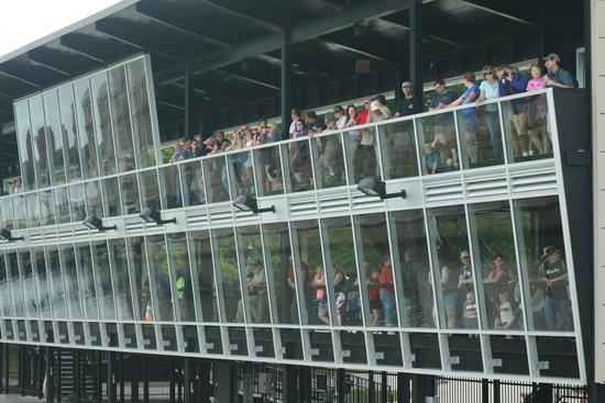 Soo Locks Boat Tours: People viewing as we went through the locks