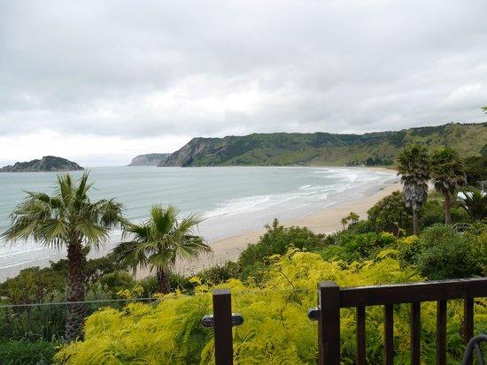 Anaura Bay, New Zealand: View from balcony at Kawakawa suite, Rangimarie Beachstay