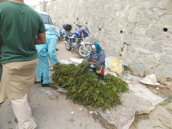Medina of Tétouan : Señora vendiendo hiervas