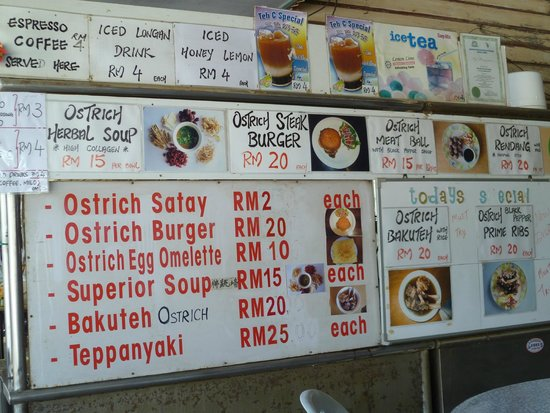 Desaru Ostrich Farm: What's available on the menu...