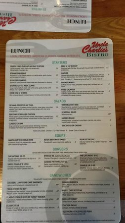 Uncle Charlie's Bistro: Menu