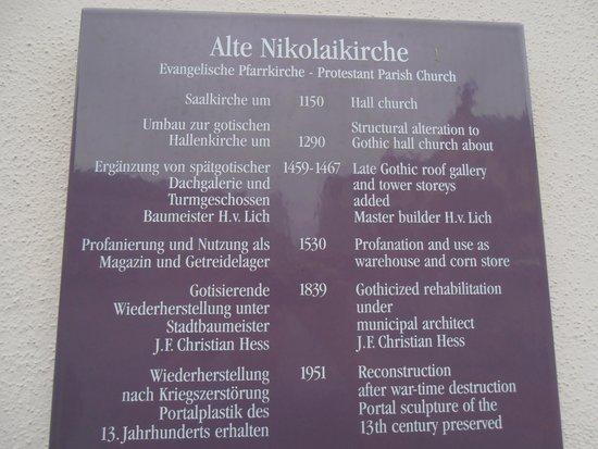 Old Nicholas Church (Alte Nikolaikirche): Kirchentafen Nikolaikirche