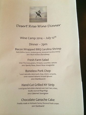 The Inn at Vineyards Crossing: Menu from the 5-course Wine Camp dinner