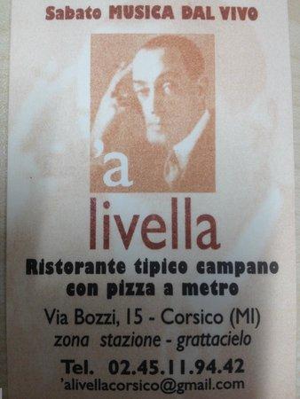 Ristorante Pizzeria A Livella: Business card