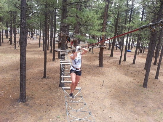 Flagstaff Extreme: Crossing one of the obstacles.