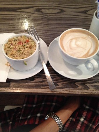 Cup: Coffee and salad