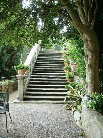 Castello di Montegufoni: Stairs to the upper gardens