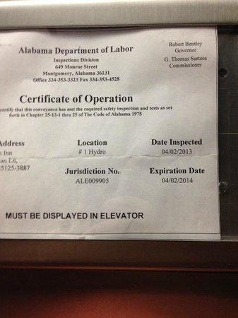 Hampton Inn Pell City: Expired elevator certificate of operation…