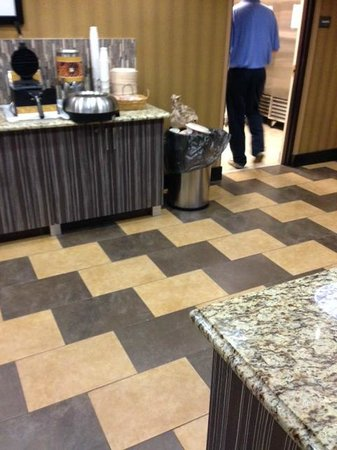 Hampton Inn Pell City: Trash bin top sitting on food counter with staff member present