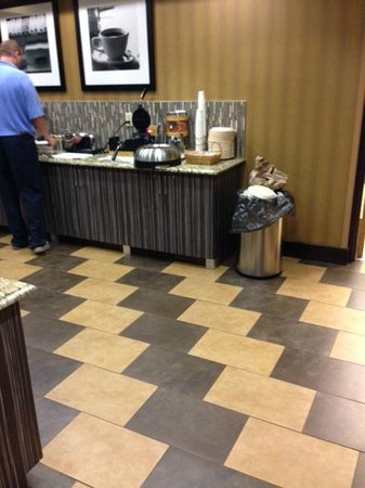 Hampton Inn Pell City: Trash bin container sitting on food counter with staff member present..